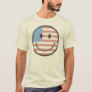 Patriotic USA Flag Smiley Face T-Shirt