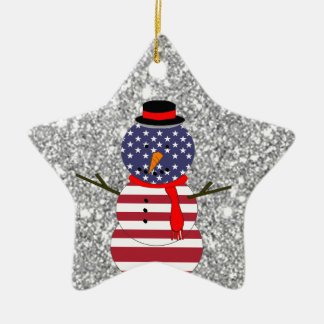 Patriotic USA flag Snowman Glitter Christmas Christmas Ornament