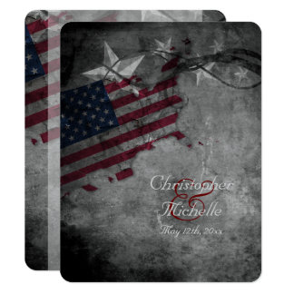 Patriotic USA Flag with Stars Wedding Invitation