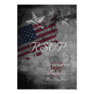 Patriotic USA Flag with Stars Wedding RSVP Cards 9 Cm X 13 Cm Invitation Card