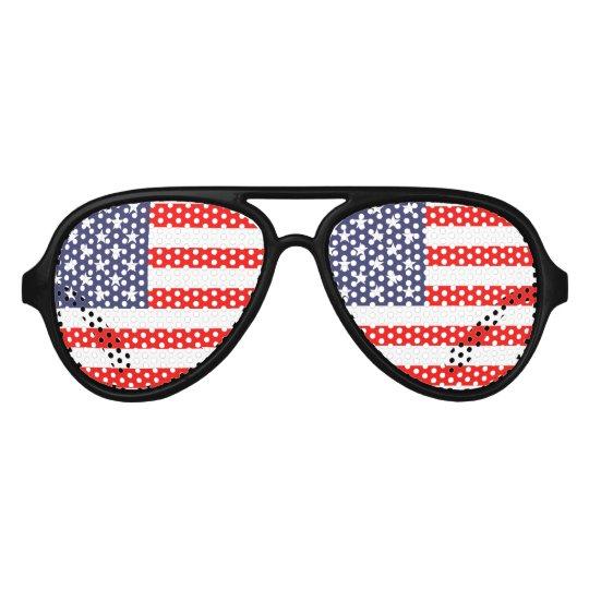 USA Flag Lens Aviator Sunglasses American Pride Red White /& Blue
