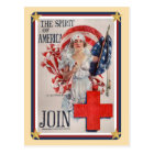 Patriotic USA - Red Cross Join Postcard