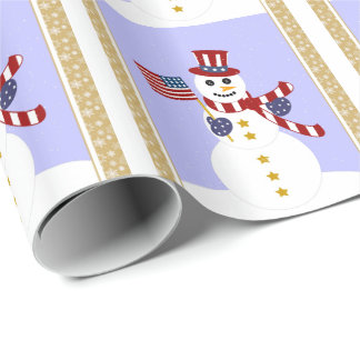 Patriotic USA Snowman Wrapping Paper