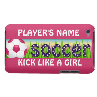 Patriotic USA Soccer ~ KICK LIKE A GIRL iPod Touch Cover