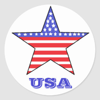 Patriotic USA Star Round Sticker