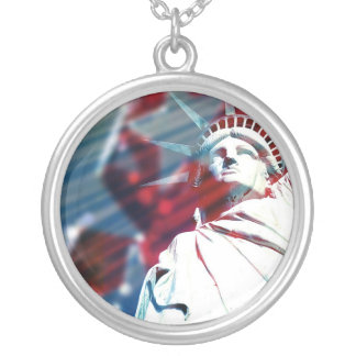 Patriotic USA Statue of Liberty Flag Necklace