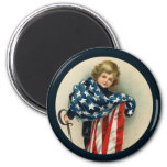 Patriotic Vintage_Boy and Flag_Round Magnet