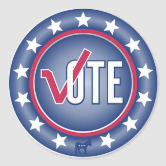 Patriotic Vote Democrat Donkey Symbol Stickers