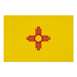 Patriotic wall poster with Flag of New Mexico