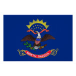 Patriotic wall poster with Flag of North Dakota