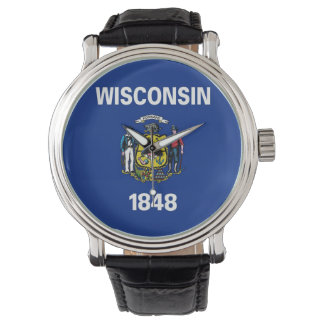 Patriotic watch with Flag of Wisconsin