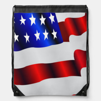 Patriotic waving American flag Drawstring Backpacks