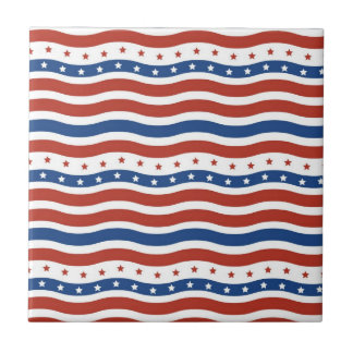 Patriotic Wavy Stars and Stripes Freedom Flag Small Square Tile