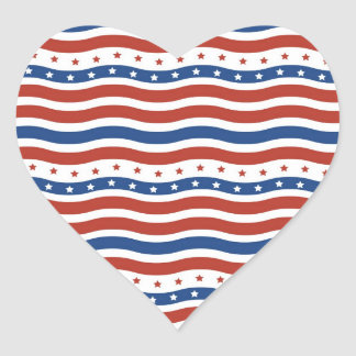 Patriotic Wavy Stars and Stripes Freedom Flag Heart Sticker