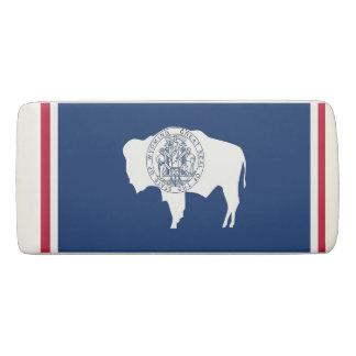 Patriotic Wedge Eraser with flag of Wyoming