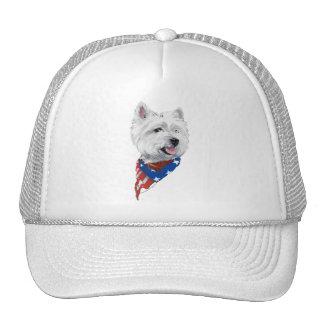 Patriotic West Highland White Terrier Mesh Hat