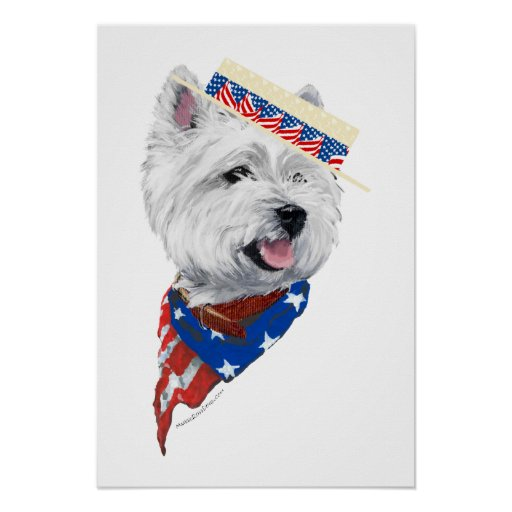 Patriotic West Highland White Terrier Poster