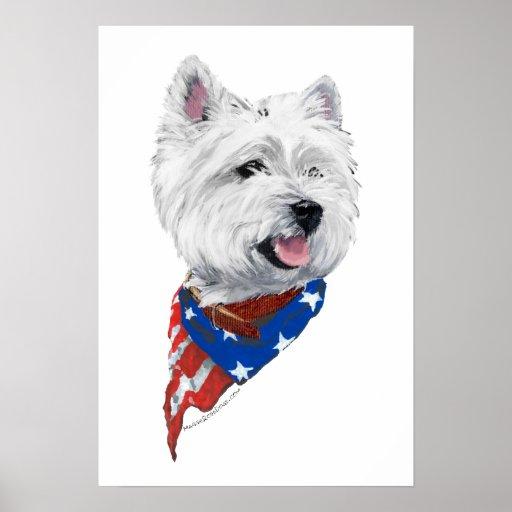 Patriotic West Highland White Terrier Print