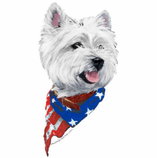 Patriotic West Highland White Terrier Standing Photo Sculpture