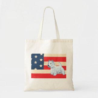 Patriotic West Highland White Terrier Tote Bag