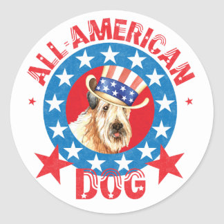 Patriotic Wheaten Classic Round Sticker
