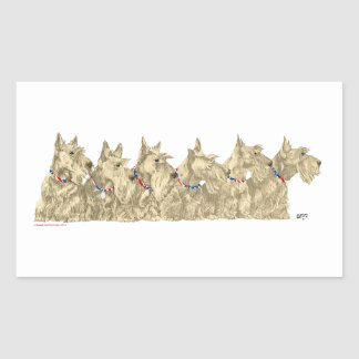 Patriotic Wheaten Scottish Terriers Rectangular Sticker