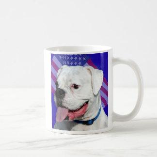 Patriotic white boxer mug