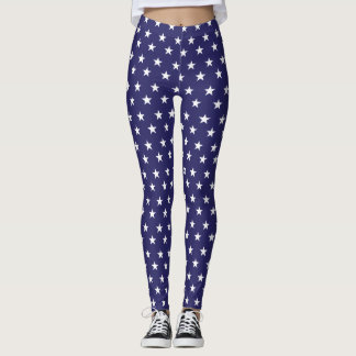 Patriotic White Stars on Blue Field Leggings