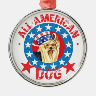 Patriotic Yorkie Christmas Ornament