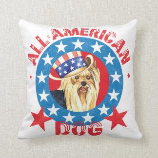 Patriotic Yorkie Cushion