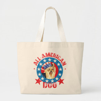 Patriotic Yorkie Large Tote Bag