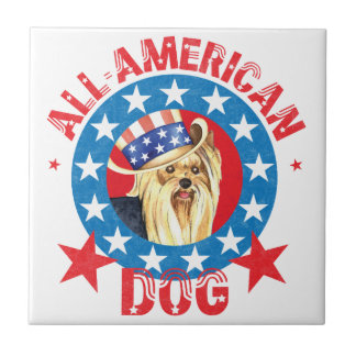 Patriotic Yorkie Small Square Tile