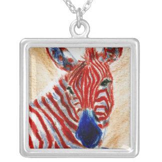 Patriotic Zebra Necklace