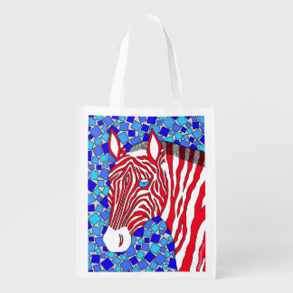 Patriotic Zebra Red White And Blue Eco Friendly Grocery Bag