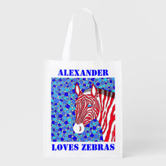 Patriotic Zebra Red White And Blue Personalized Market Tote