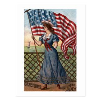 Patriotically Dressed Woman Postcard
