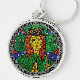 Patron Saint Of Depression And Anxiety St Dymphna Silver-Colored Round Key Ring