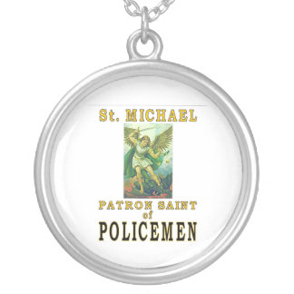 PATRON SAINT POLICEMEN SILVER PLATED NECKLACE