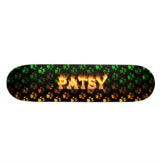 Patsy skateboard fire and flames design.
