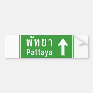 Pattaya Ahead ⚠ Thai Highway Traffic Sign ⚠ Bumper Sticker
