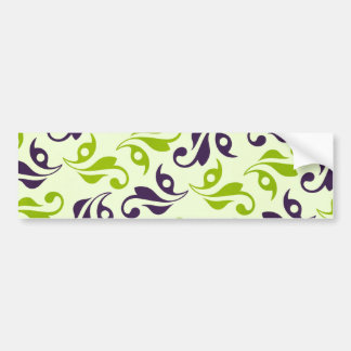 pattern79 PURPLE GREEN VINE SWIRLS PATTERN TEXTUR Bumper Sticker