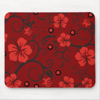 Pattern ARTs - hibiscus decor | darkred Mouse Pad