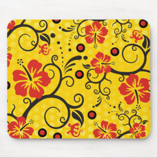 Pattern ARTs - hibiscus decor | yellow dots Mouse Pad