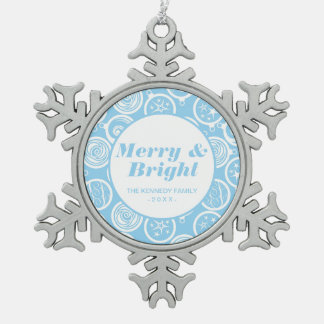 Pattern background with Christmas-tree Snowflake Pewter Christmas Ornament