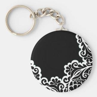 pattern basic round button key ring