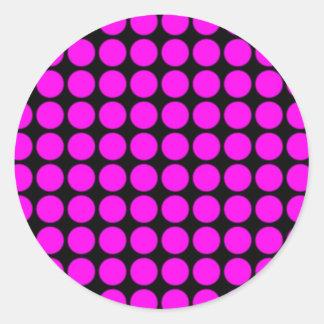 Pattern: Black Background with Pink Circles Round Sticker