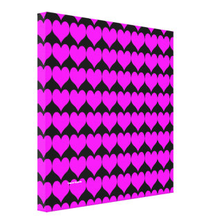 Pattern: Black Background with Pink Hearts Gallery Wrap Canvas