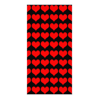 Pattern: Black Background with Red Hearts Photo Card Template