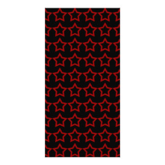 Pattern: Black Background with Red Stars Custom Photo Card