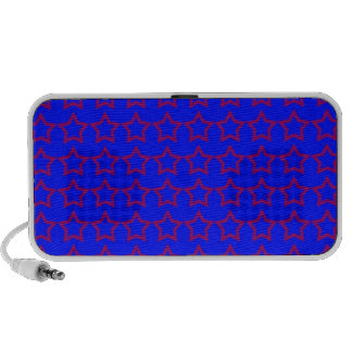 Pattern Blue Background with Red Stars Mini Speakers